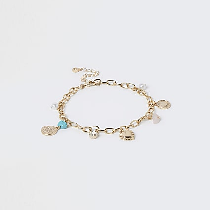 Blue turquoise charm anklet