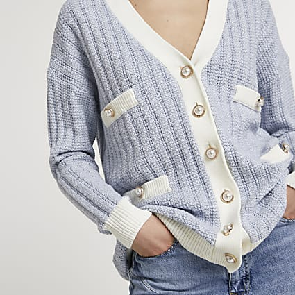 Blue tweed knit cardigan
