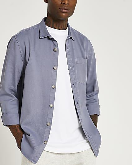 Blue twill regular fit long sleeve shirt