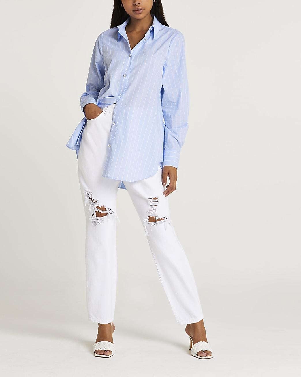Blue twist back shirt