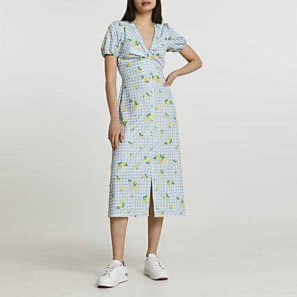 Blue twist front check floral midi dress