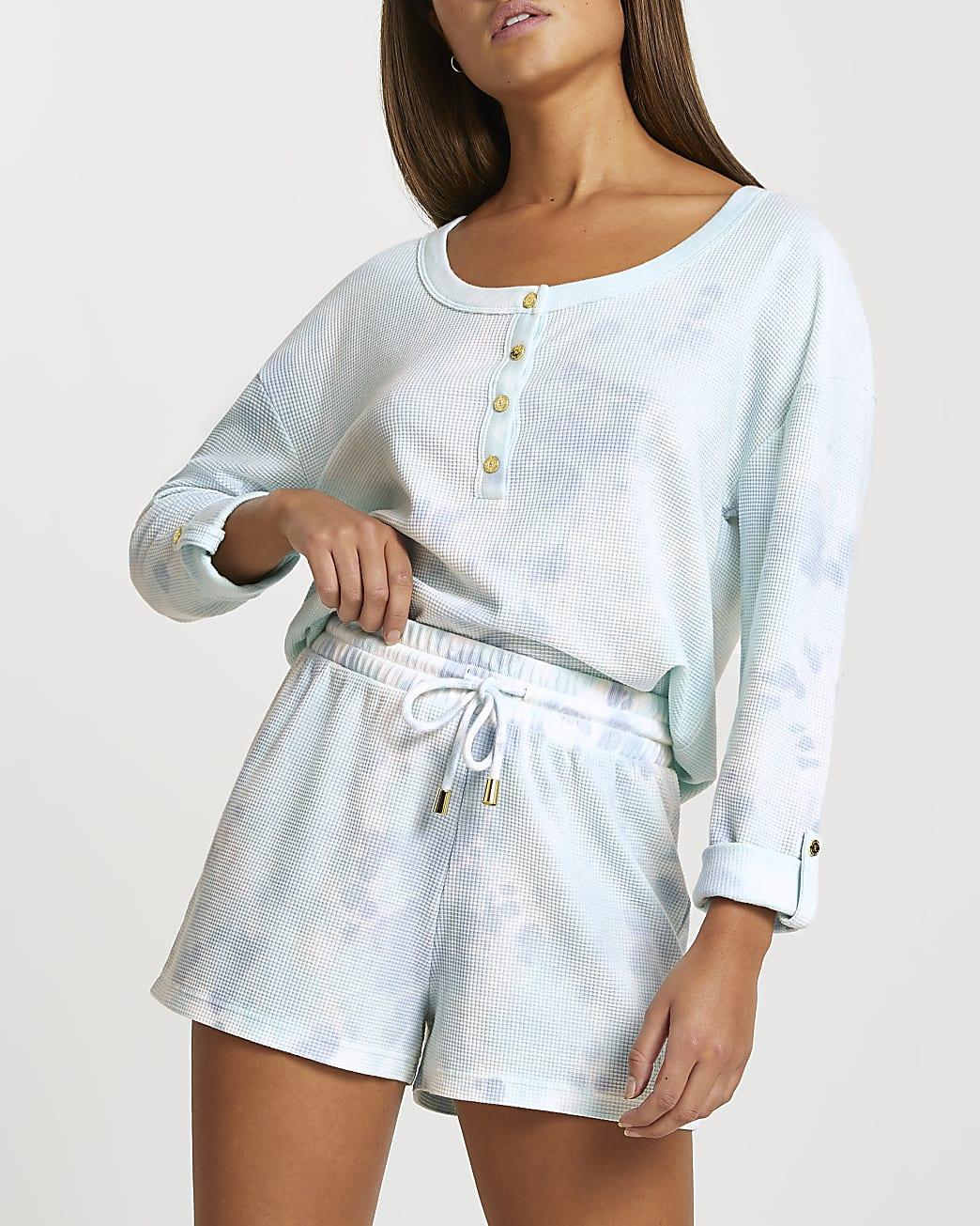 Blue waffle tie dye lounge shorts