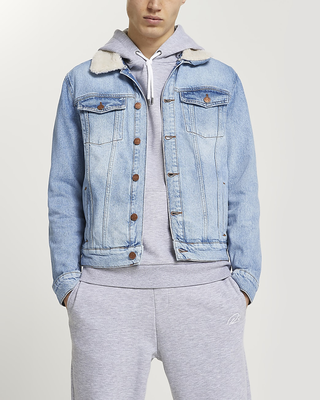 Blue wash borg collar denim jacket