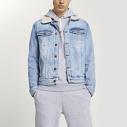 Blue wash borg collar denim jacket