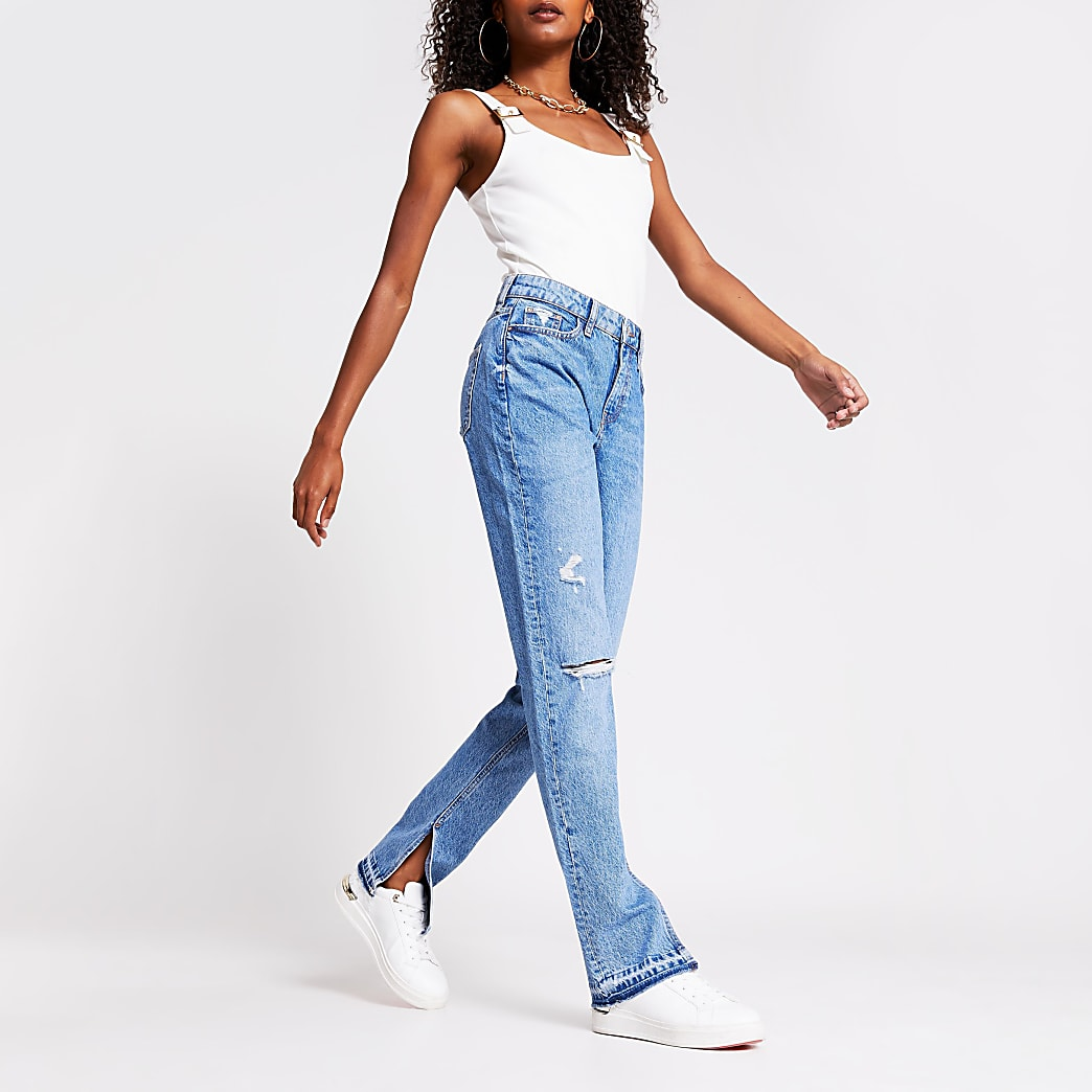 Blue wash split hem high rise jeans