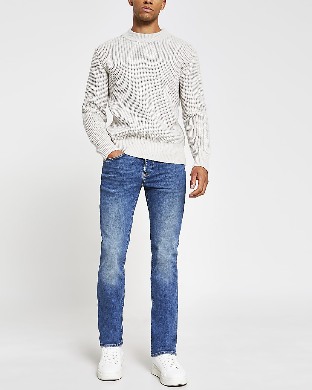 Blue washed bootcut jeans