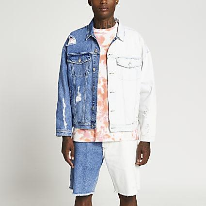 Blue washed dip dye denim jacket