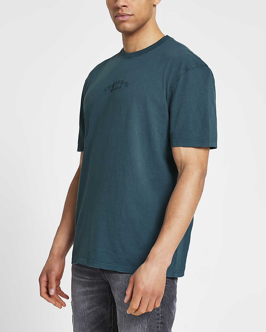 Blue washed graphic t-shirt