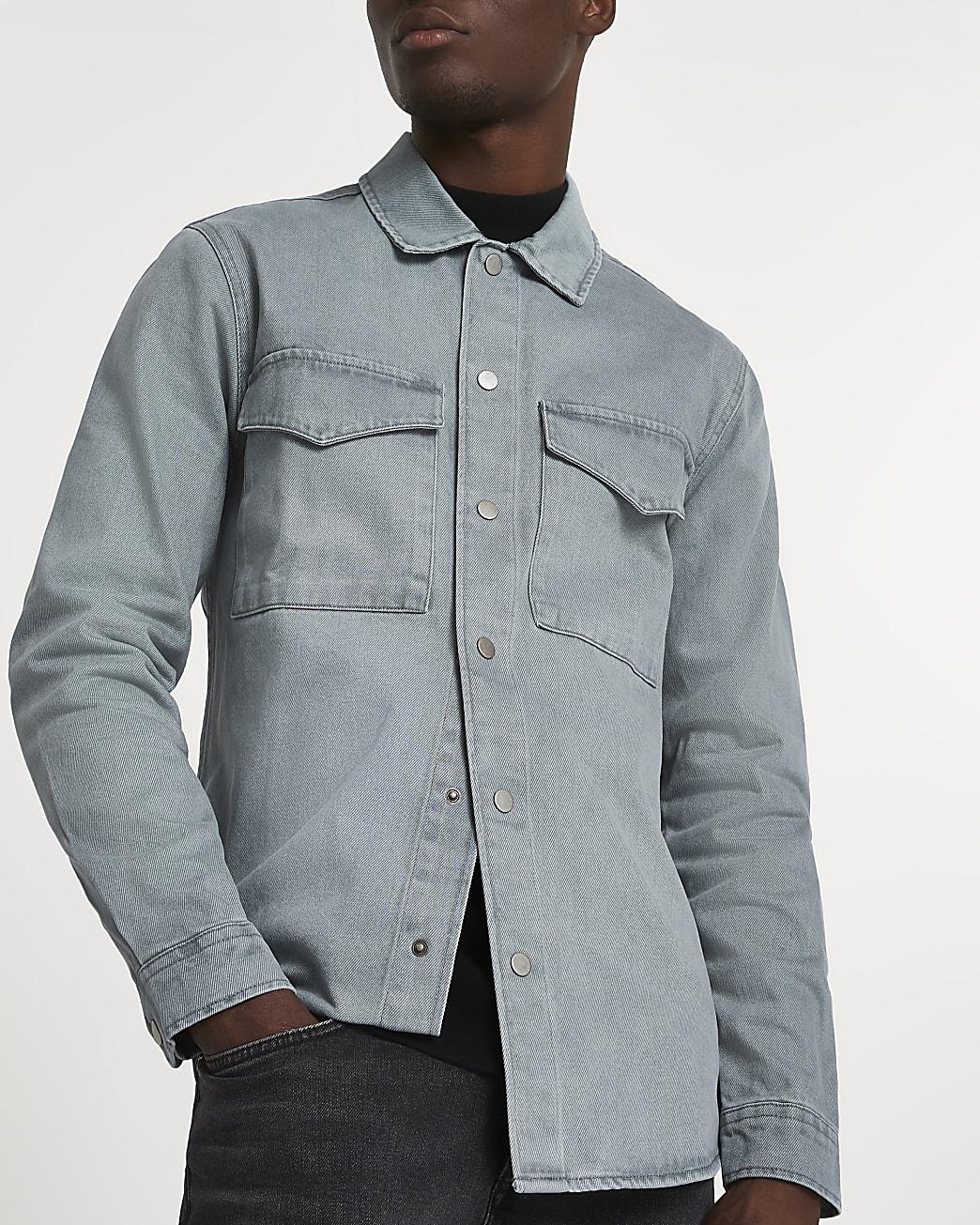 Blue washed long sleeve shacket