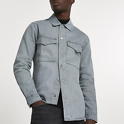 Blue washed long sleeve shacket