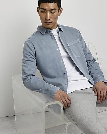 Blue washed long sleeve shirt