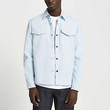 Blue washed long sleeve shirt