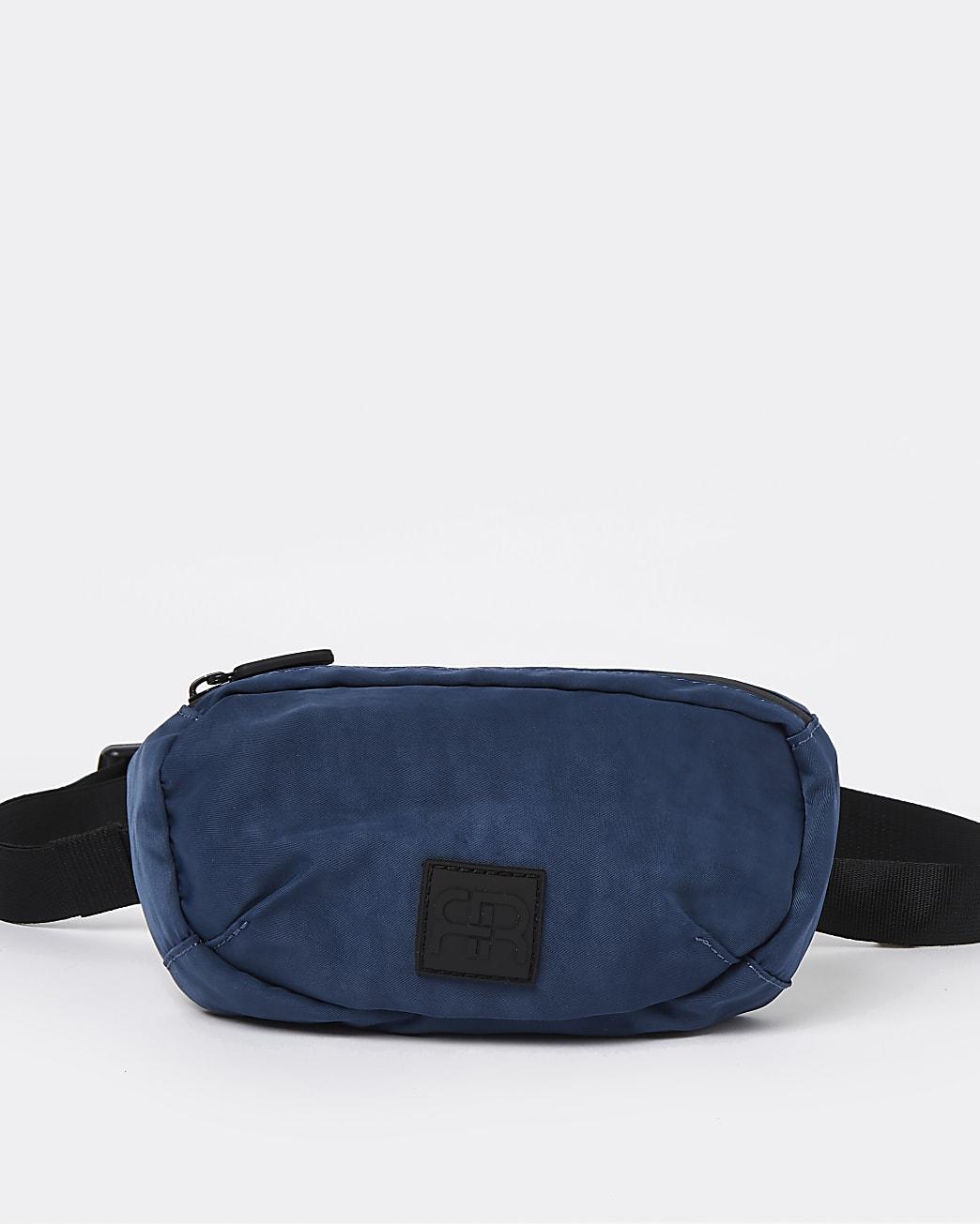 Blue washed nylon crossbody bag