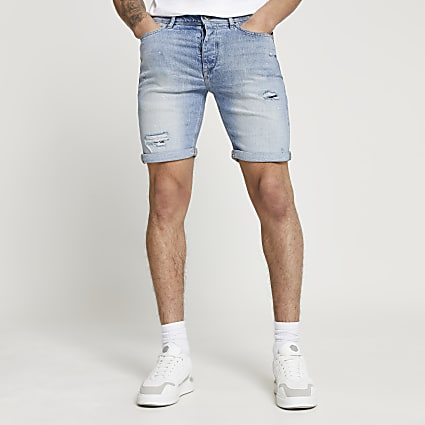 Blue washed ripped slim fit shorts