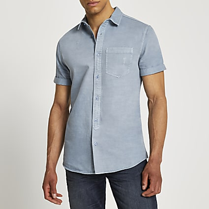 Blue washed short sleeve shirt