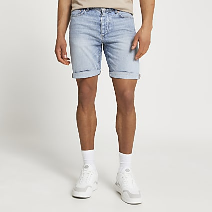 Blue washed slim fit denim shorts