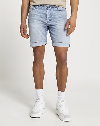 Blue washed slim fit denim shorts