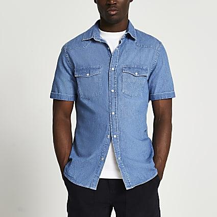 Blue western short sleeve denim shirt