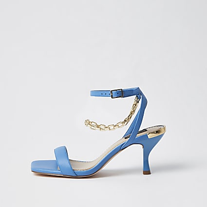Blue wide fit gold chain heel
