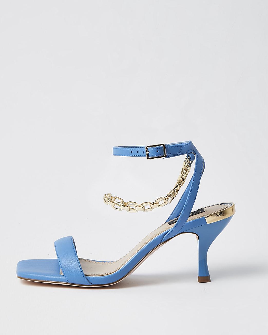 Blue wide fit gold chain kitten heel