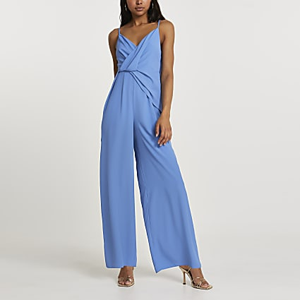 Blue wide leg backless jumpsuit