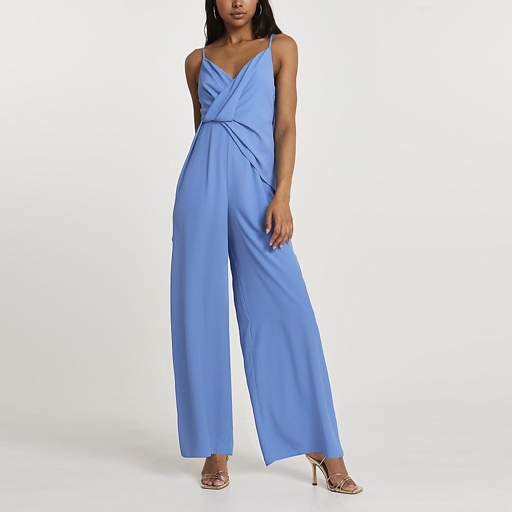 Blue wide leg backless jumpsuit