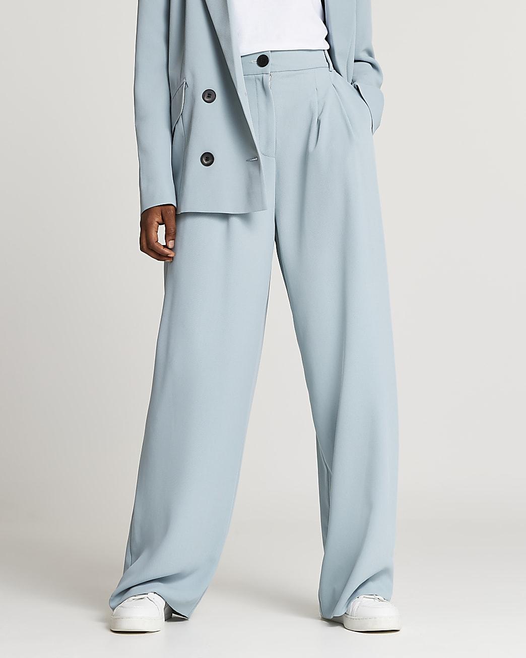Blue wide leg pleated trousers