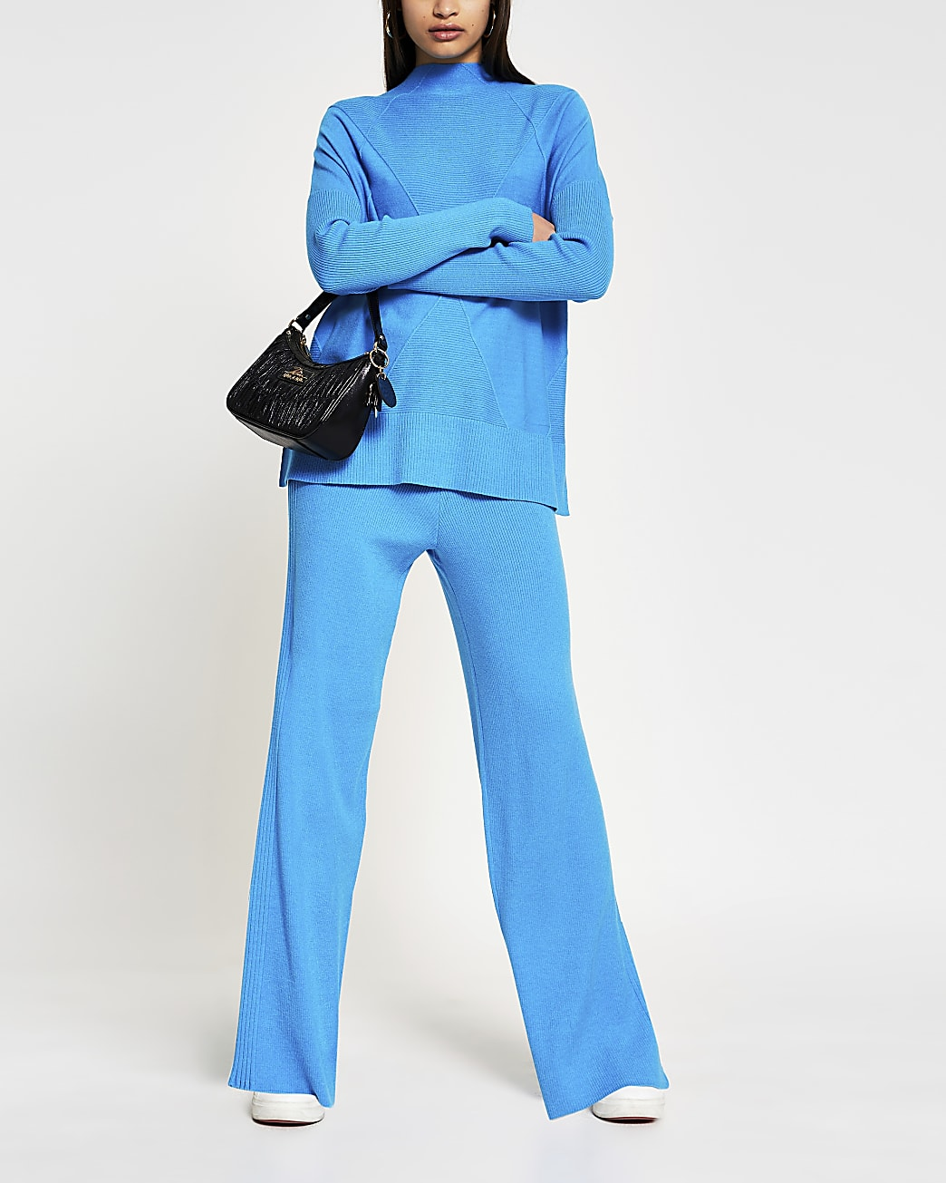 Blue wide leg ribbed knit trousers