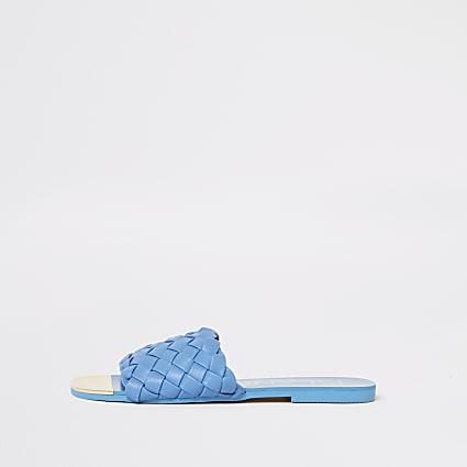 Blue woven flat sandal
