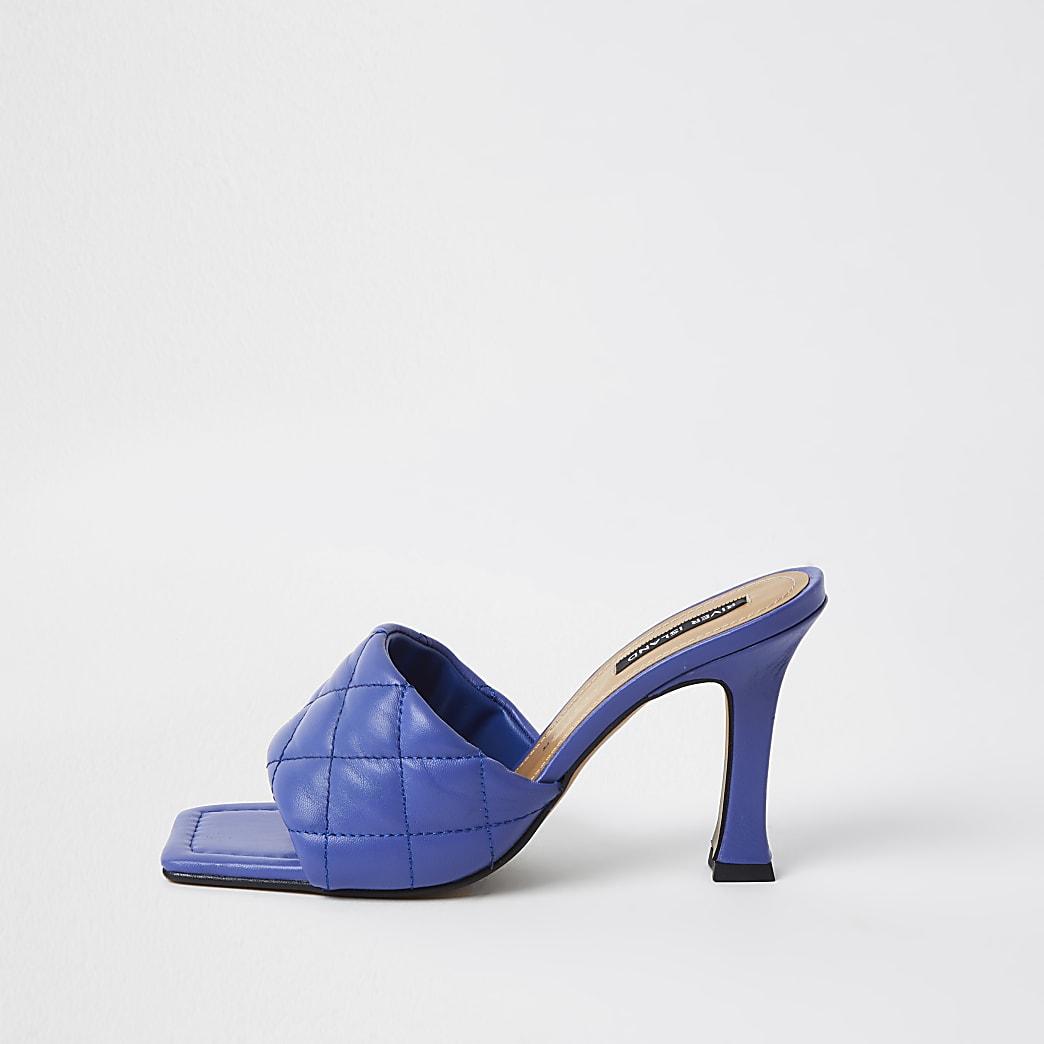 Blue woven square toe mule sandal