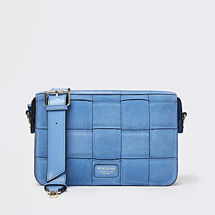 Blue woven suede bag