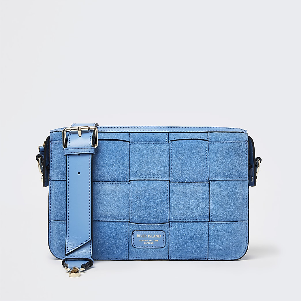 Blue woven suede bag