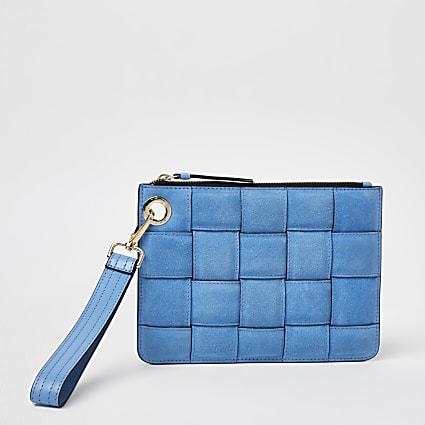 Blue woven suede pouchette bag