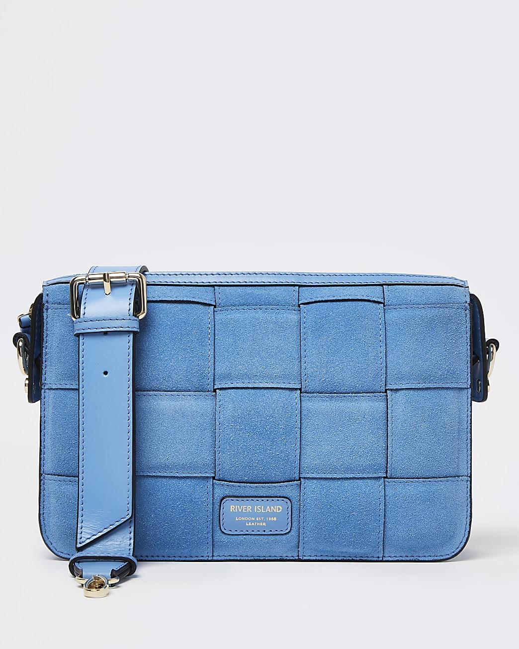 Blue woven suede shoulder bag