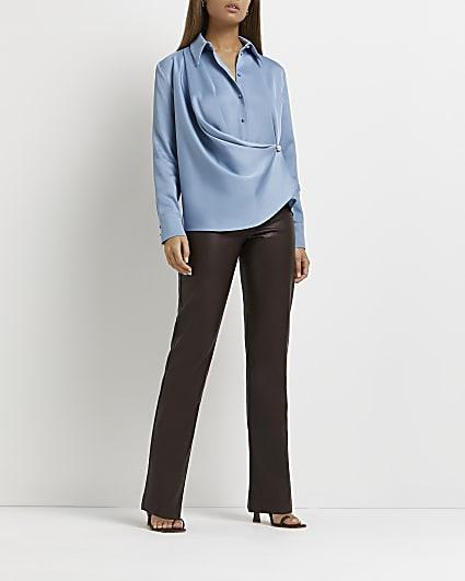 Blue wrap drape detail long sleeve shirt