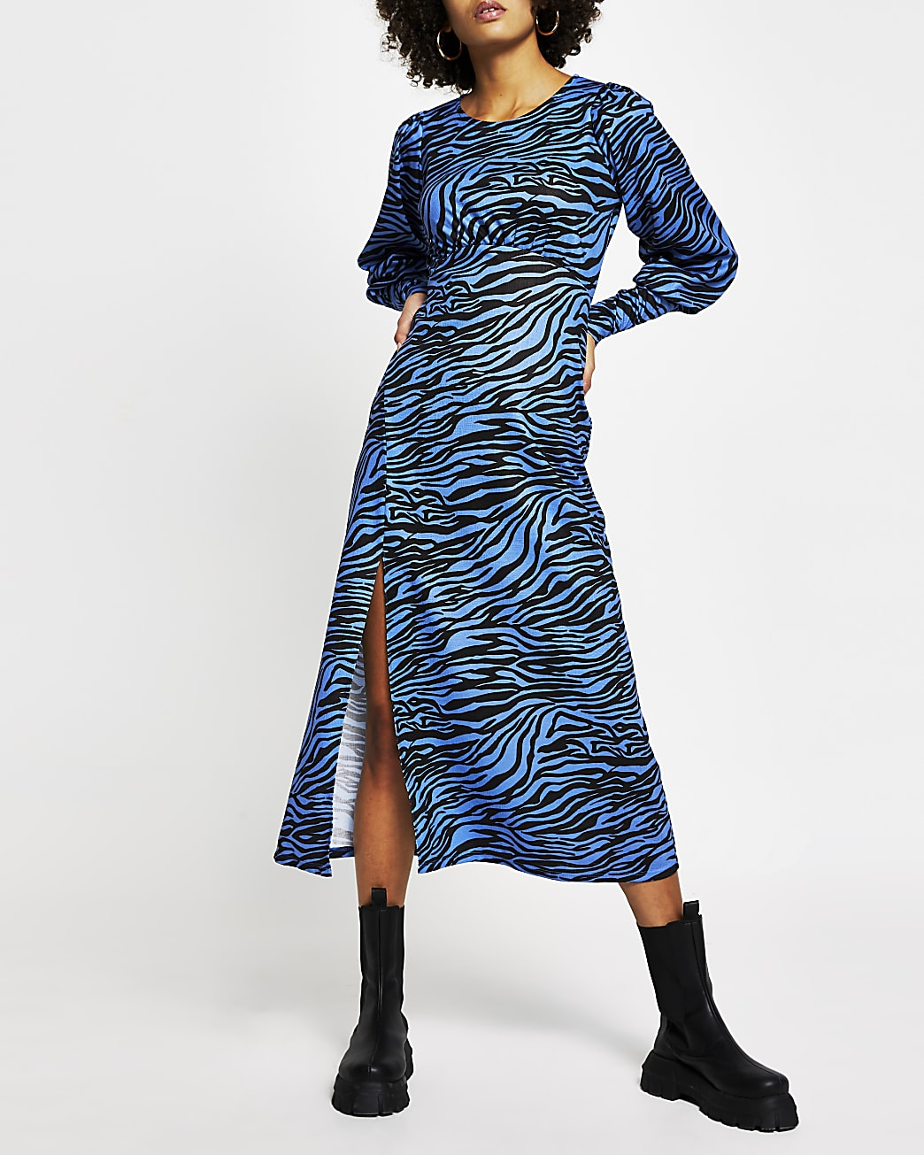 Blue zebra print front split midi dress