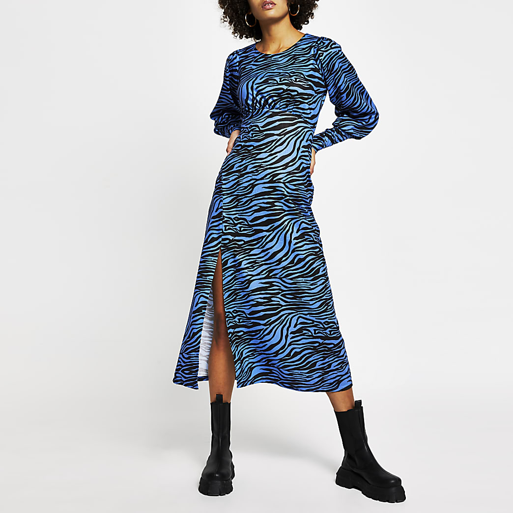 Blue zebra print front split midi dress