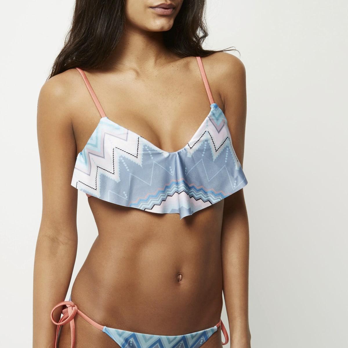 Blue zig zag frill bikini top