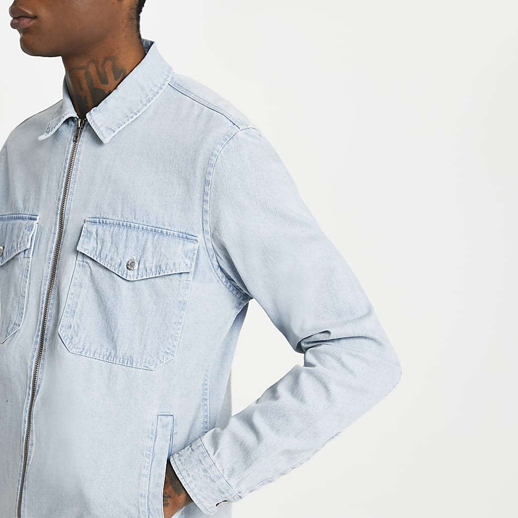 Blue zip front long sleeve overshirt