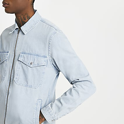 Blue zip front long sleeve shacket