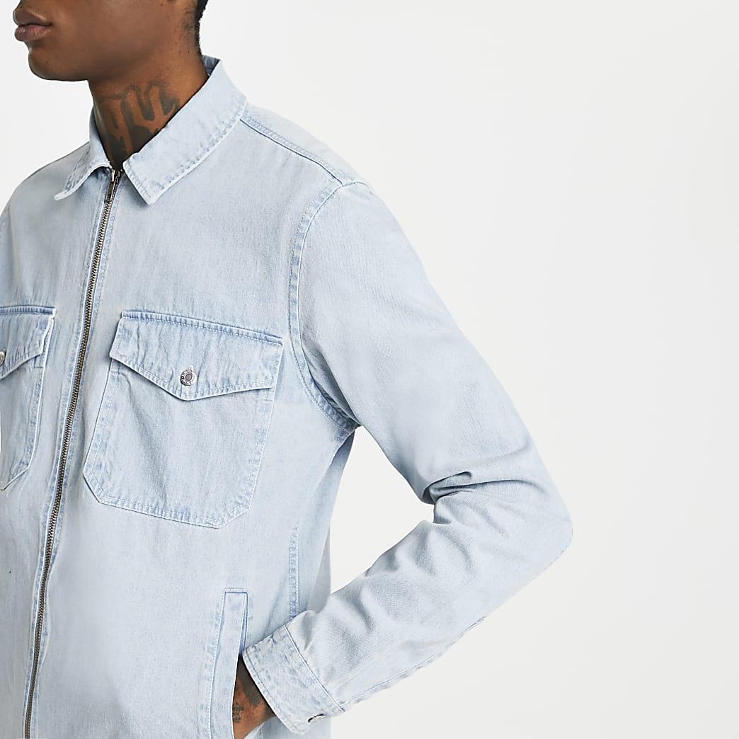 Blue zip front long sleeve shacket