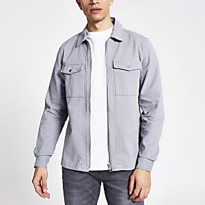 Blaues Regular Fit Überhemd mit Reißverschluss