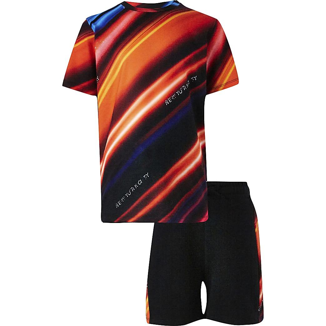 Boy red strobe print t-shirt short set
