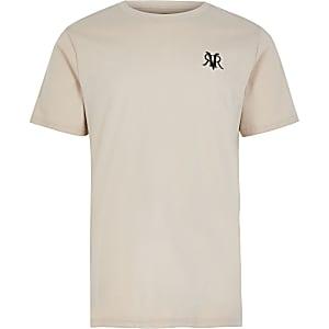 T-shirt brodéRVR couleur grège pour garçon
