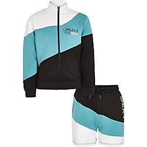 Prolific - Turquoise hoodie outfit met kleurvlakken en rits voor jongens