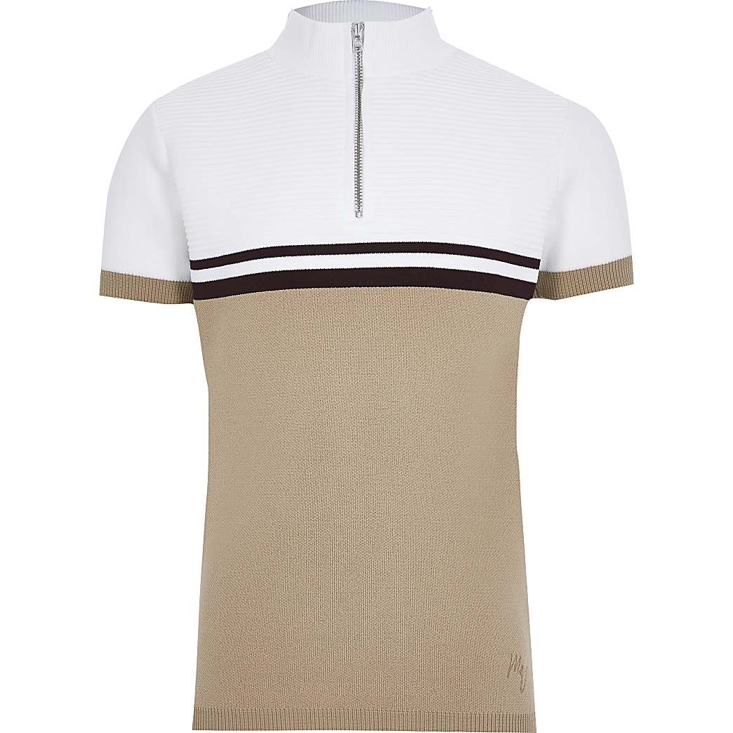 Boys beige colour block 1/4 zip polo shirt