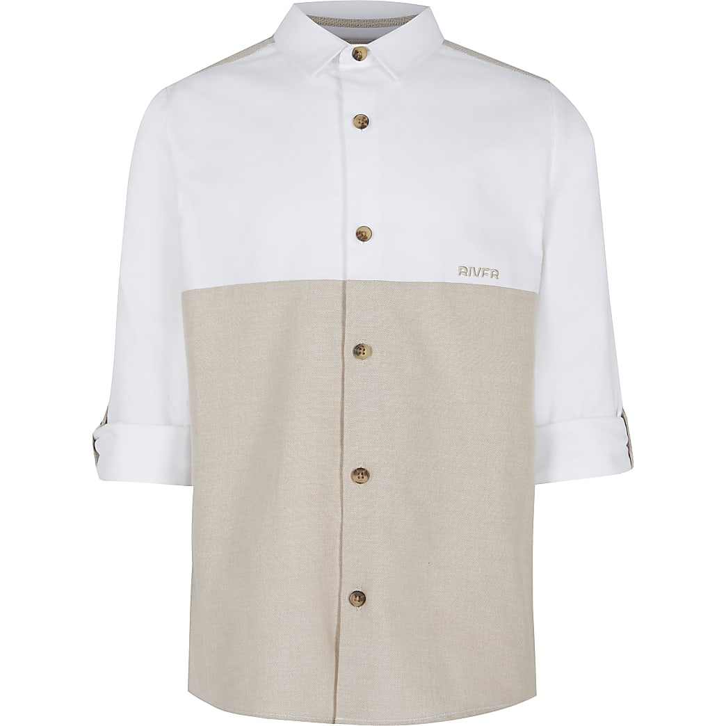 Boys beige colour blocked rolled sleeve shirt