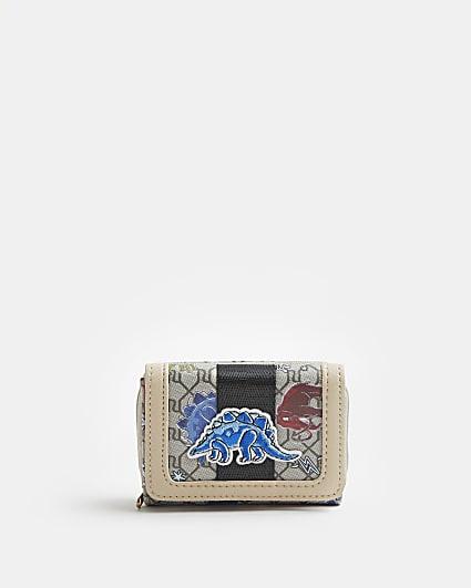 Boys beige dinosaur RI monogram wallet
