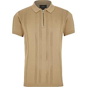 Beigefarbenes Poloshirt aus Strick mit kurzem Reißverschluss für Jungen
