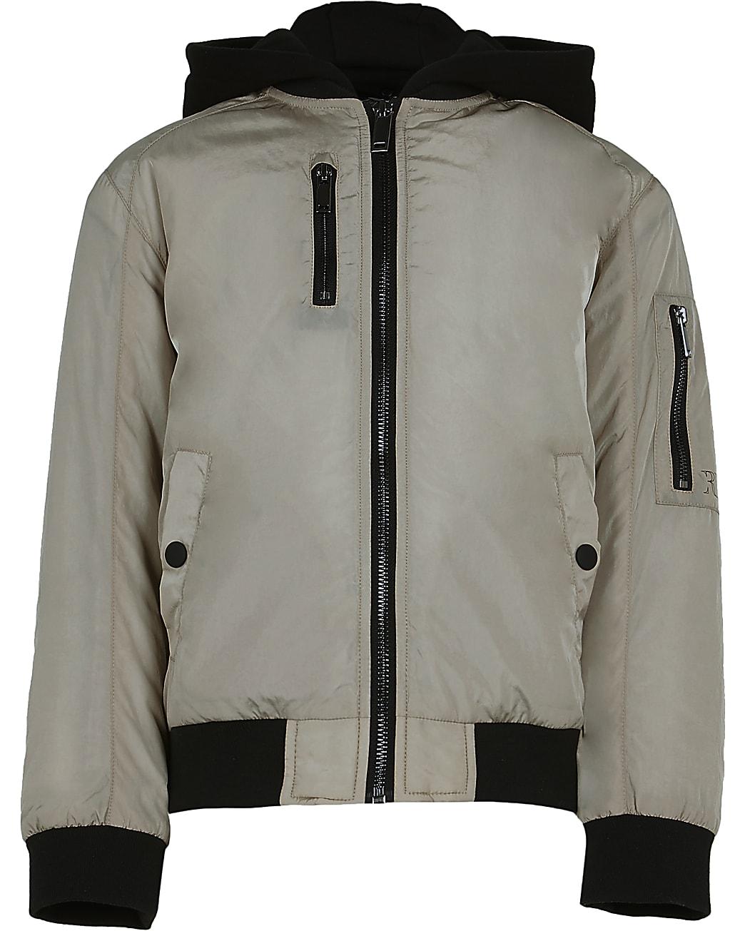 Boys beige hooded utility bomber jacket